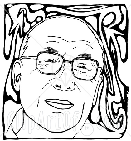 35576-Clipart-Illustration-Of-A-Black-And-White-Maze-Of-The-Face-Of-The-Dalai-Lama-Wearing-Glasses